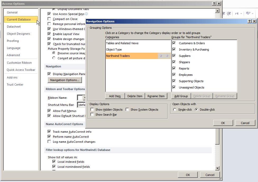 Opzioni Access Database corrente